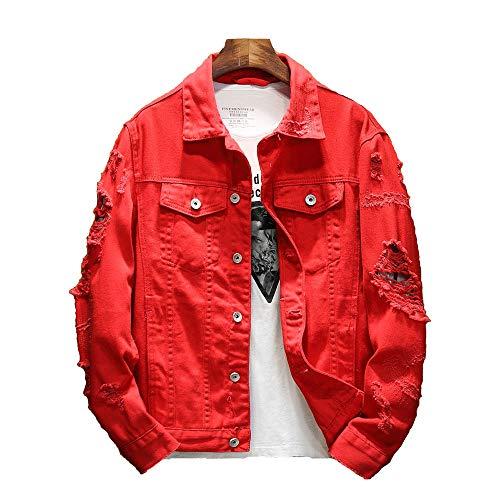 Men's Denim Jacket Ripped Distressed Jean Jacket Rugged Trucker Jacket Lightweight Coat (Red,X-Large)