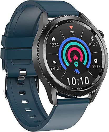 QHG Reloj Inteligente para iOS y Android Presión Arterial Ritmo cardíaco Monitor de sueño Monitor de Salud Pedómetro Pedómetro Contador de calorías Corriente de Fitness (Color : Blue)