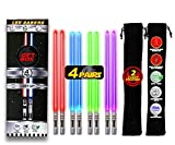 LIGHTSABER CHOPSTICKS LIGHT UP STAR WARS LED Glowing Light Saber Chop Sticks REUSABLE Sushi Lightup Sabers Removable Handle Dishwasher Safe Red Green Blue Purple - 4 Pairs