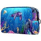 ATOMO Bolsa de maquillaje, bolsa de viaje cosmética de moda, bolsa de aseo grande, organizador de maquillaje para mujeres, tortuga azul y púrpura bajo el agua