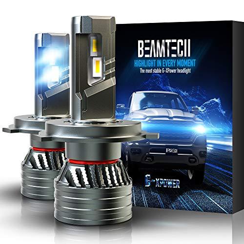 BEAMTECH H4 LED Headlight Bulb, 9003 G-XP Chips 6500K 12000LM 360 Degree Beam 90W Xenon WhiteConversion Kits of 2