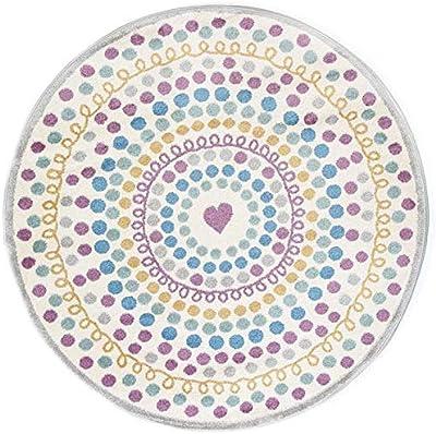 Home Culture Polka Dot Love Heart Multi Kids Rug, 133 x 133cm Round