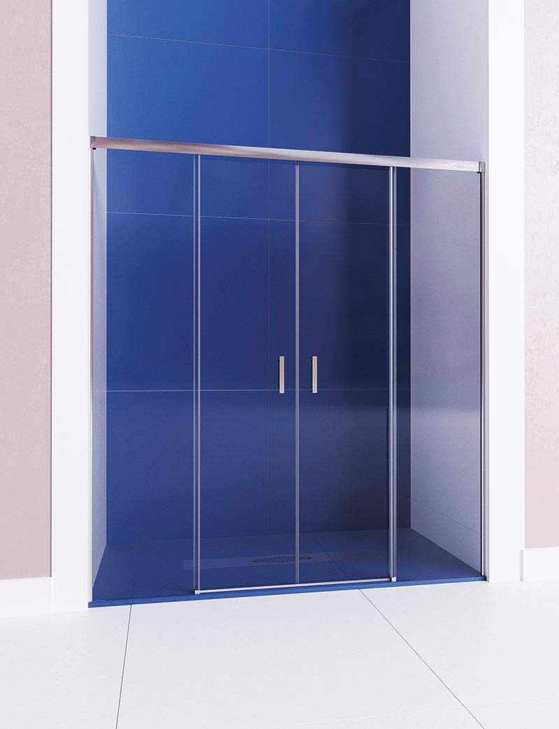 Modelo SATELITE - Mampara de ducha angular - de 2 hojas fijas y 1 ...