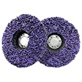 Poly Abrasive Strip Wheel Disc, 2pcs 4' (100mm) Angle Grinding Wheel Stripping Disc, Paint Rust and Oxidation Removal Clean Tool for Angle Grinder, Purple