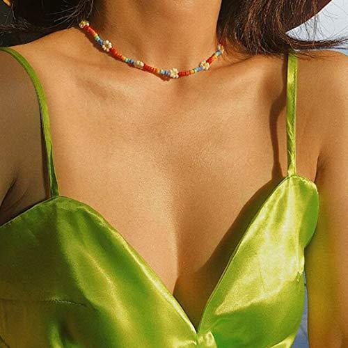 Aukmla Boho Gargantilla Collar Playa de arena dorada Collares de flores de colores Accesorios de joyería de cuentas de cadena para mujeres y niñas