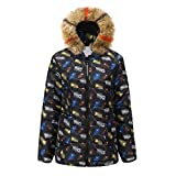 Floweworld Damen Winter Daunenmantel Mode Blumendruck Mit Kapuze Kurzmantel Pelzkragen Reißverschluss Jacke Baumwolle Gepolsterte Outwear