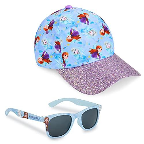 Frozen Sonnenhut Mädchen, Basecap Kinder Mädchen und Sonnenbrille Set, ELSA Sonnenhut Kinder Mädchen ab 3 Jahren, Einheitsgröße (Blau)