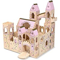 Melissa & Doug Folding Princess Castle Wooden Dollhouse with Drawbridge and Turrets