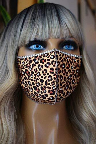 Mundschutz Schutzmaske Mund Nasen Maske Stoffmaske Leoparden Muster Leo Glitzer Strass
