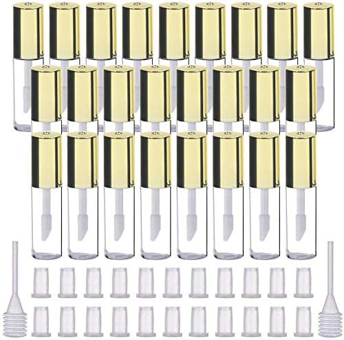 LTKJ 25 Pack 1 2 mL Pretty Empty Lip Gloss Tubes Containers Clear Mini Refillable Lip Balm Bottles product image
