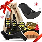 Kit de Soins Barbe Homme Complet Barbier 9Pcs ATMOKO, Kit Soin Barbe,shampoing barbe,Huile à barbe...