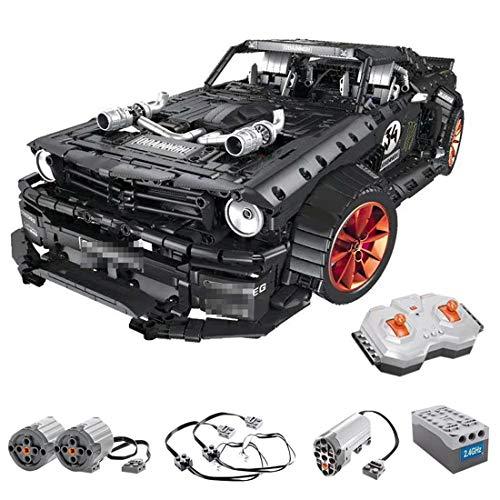 DXX Technik Bausteine 1965 Ford Mustang Hoonicorn Racing Auto, 3181Teile 1:10 2.4G Sportwagen Bausteine Konstruktionsspielzeug Kompatibel mit Lego Technic