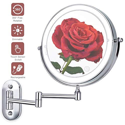 NMRCP Schminkspiegel Wandmontage, Rasierspiegel, Kosmetikspiegel LED Beleuchtet Make-up Spiegel 360° Schwenkbar Faltbar Wandmontage für Badezimmer,7X
