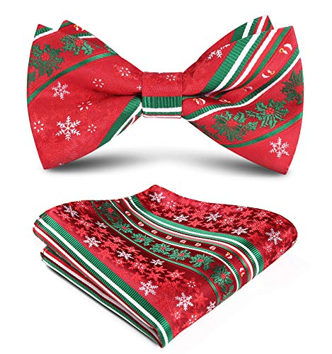 HISDERN Christmas Snowflakes Bow Tie and Pocket Square Set for Men Holiday Xmas Pre Tied Bow Ties with Handkerchief Red