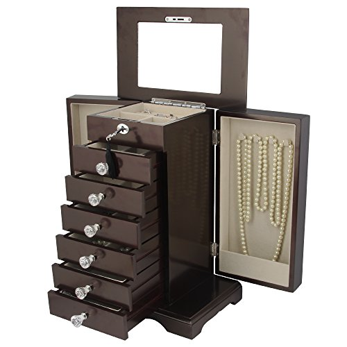 Kendal Wooden Jewelry Box Organizer Wood Armoire Cabinet Storage Box Locked with a Key WJC7BK