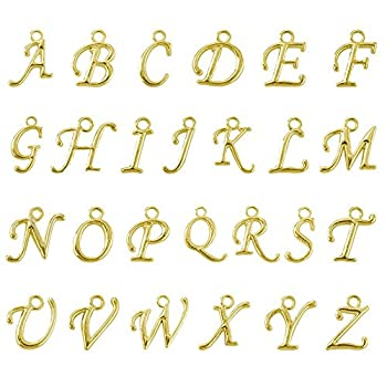 BEADNOVA Letter Charms for Jewelry Making Alphabet Charms Initial Charms Assorted for Bracelets  Gold 100pcs