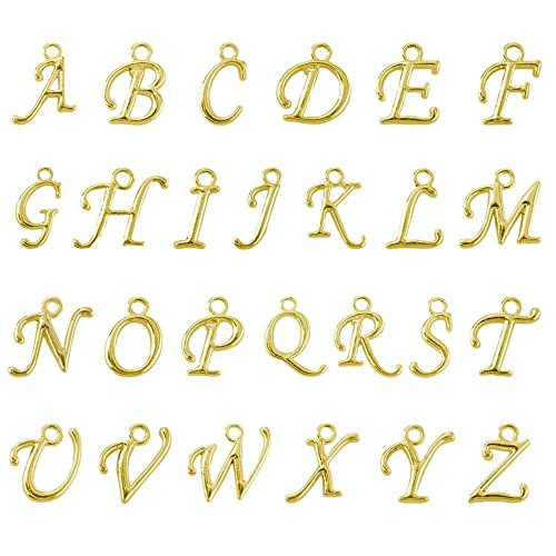 BEADNOVA Letter Charms for Jewelry Making Alphabet Charms Initial Charms Assorted for Bracelets (Gold, 100pcs)