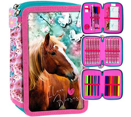 Pferd Horse Pony Einhorn 44 x Teile 3-FÄCHER Dreistöckige FEDERTASCHE FEDERMAPPE Federmäppchen Mäppchen Inklusive Sticker v. kids4shop