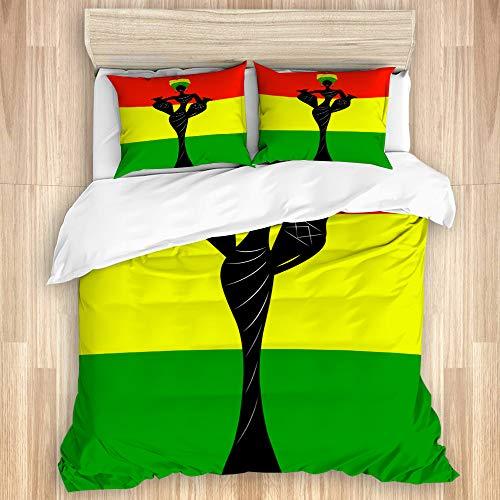 Aliciga Bettwäsche-Set,schöne afrikanische Frau mit einem Turban und Amphoren Traditionelle Kente Kopfwickel afrikanische Flagge,Bettbezüge Set mit Reißverschluss,und Kopfkissenbezüge,240x260