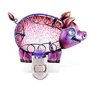 Puzzled Glass Art Night Light, Energy Efficient Plug in Decorative Socket Lamp, Manual On & Off Portable Light for Stairway, Bedroom, Bathroom, Nursery, Home Accessory & Kitchen Decor – Pig
