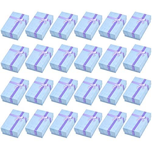 24 Piezas Caja de Regalo para Joyería, Cajitas de Carton para Regalos, Cajas de Presentación Rectangular con Inserto Terciopelo, Caja de Papel para Exhibir Pulsera Pendiente Collar Anillo (Púrpura)