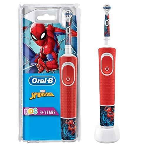 Oral-B Kids Spiderman Elektrische Zahnbürste mit Stickern, für Kinder ab 3 Jahren, rot