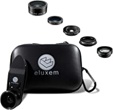 Eluxem Phone Camera Lens Kit - for iPhone, Samsung, Android, Tablets, Wide Angle + 15X Macro, 2X Telephoto, Fisheye, and CPL Filter Lens, Travel Carrying Case, Universal Clip, Smartphone Accessories