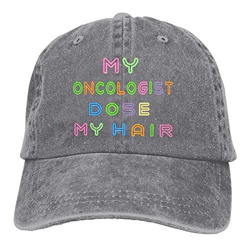 Leumius My Oncologist Does My Hair-1 Hats, Gorra de béisbol ajustable de algodón para papá Trucker Gorra de golf, gris, Talla única
