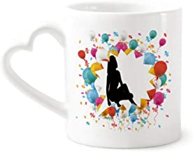 cold master DIY lab Hot Woman Squats Silhouette Festival Balloon Mug Coffee Cup Pottery Ceramic Heart Handle