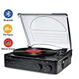 Best Portable Record Players - Record Player Bluetooth Turntable with Stereo Speakers Portable Review