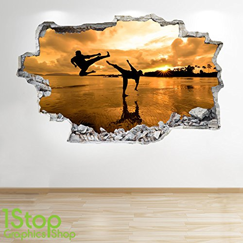 1Stop Graphics Shop Karate Wandaufkleber 3D Optik - Meer Sonnenuntergang am Strand Schlafzimmer Lounge Z128 - Small: 40 cm x 79 cm