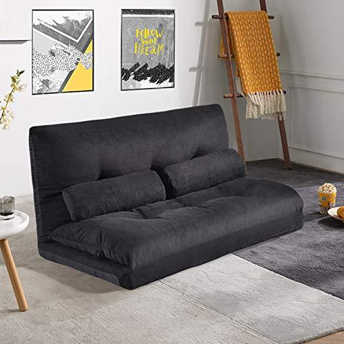 Floor Sofa Bed, Foldable Sleeper Sofa Bed, Adjustable Folding Futon Sofa with 2 Pillows Confortable Sofa TV Floor Gaming Couch Lazy Sofa Folding Sleeping Laying Entertainment (Black)