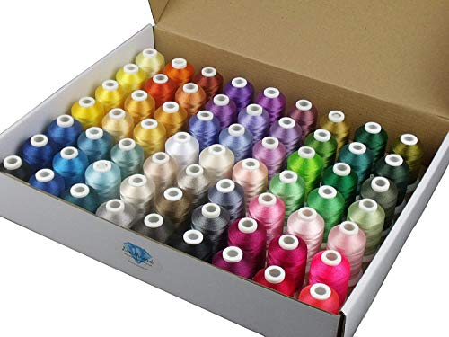 Slimthread Fil à broder 63 couleurs en polyester 500 m pour machines à broder et à coudre Brother, Babylock, Janome, Singer, Pfaff, Husqvarna, Bernina