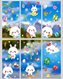 97 Pcs Easter Windows Clings Decals, Easter Eggs Bunny Static Window Stickers for Easter Decorations Window Clings for Glass, Office, School, Party Supplies