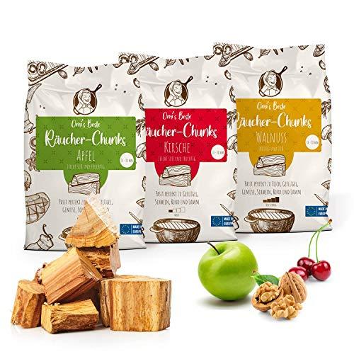 Omi's BESTE© 3er Packung Räucherchunks Apfel Kirsche WALNUSS - ca.1,5kg je Sorte & Ø 5-8cm - BBQ Räucherklötze für kräftiges Raucharoma | 100% natürliches & traditionelles Smoker-Holz