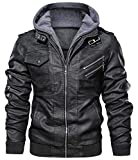 chouyatou Men's Vintage Removable Hooded Slim Motorcycle Faux Leather Bomber Jacket (X-Large, Black)