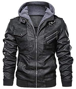 chouyatou Men s Vintage Removable Hooded Slim Motorcycle Faux Leather Bomber Jacket  Large Black