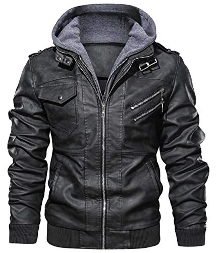 chouyatou Men's Vintage Removable Hooded Slim Motorcycle Faux Leather Bomber Jacket (Large, Black)