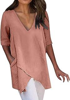 DIDWZW Loose Top Blouse for Women Casual Solid Irregular Hem Sexy V-Neck Short Sleeve Pockets Soft Cotton Half Sleeve Shirts for Women, S-XXXXXL