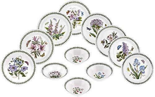 Portmeirion Dinnerware - Botanic Garden 12 Piece Earthenware Dish Set - Includes 4 10.5' Dinner Plates, 4 8.5' Salad Plates, and 4 6.5' Oatmeal Bowls