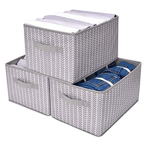 GRANNY SAYS Storage Bin for Shelves, Fabric Closet Organizer Shelf Cube Box with Handle Home Office Storage Baskets, Large, Gray/White, 3-Pack