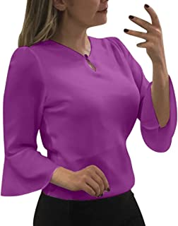 DIDWZW Women Fashion Solid Shirts Business Blouse Ladies Summer Round Neck Ruffle Bell 3/4 Sleeve T-shirt Blouse Tops Brief Office Work Wear-Size(S-XXL)
