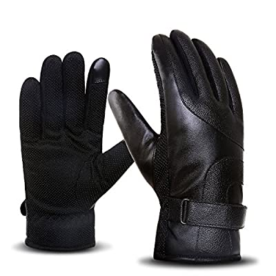Leather Gloves Men's winter touch screen thickening plus velvet windproof warm motorcycle outdoor skid riding