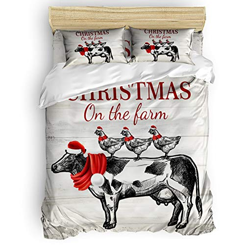 Christmas Cow and Chicken on Wood Grain Comforter Set Full Size 4 Pieces Ultra Soft Breathable Bedding Sets with 1 Comforter Cover 1 Bed Sheets 2 Pillowcases, All Season Lightweight Duvet Cover Set