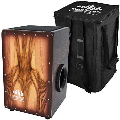 Echoslap Super Bass Cajon, Hand Crafted, 8 Adjustable Snare Wires, Sandalwood Frontplate, Deep Bass, Hardwood Body + Free Gig Bag