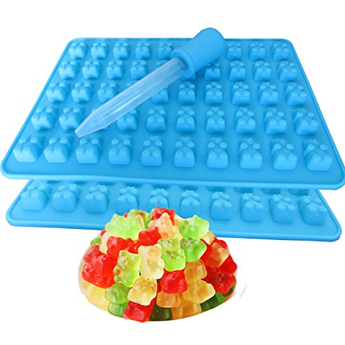2 Pack 50 Cavity Silicone Gummy Bear Candy Chocolate Mold With a Dropper Making Cute Gift For Your Kids
