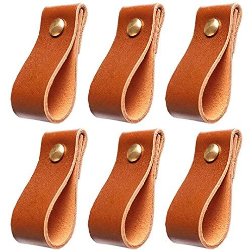 Manijas de cajón de 6 piezas, perillas de puerta de gabinete de cuero artificial hechas a mano, manija de puerta, manija de puerta de cuero, manijas de extracción de cajón