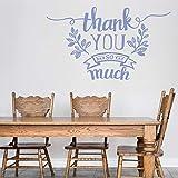 Calcomanía de pared de vinilo monocromo, frases de agradecimiento, muchas...