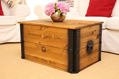 Uncle Joe´s Truhe Roosevelt Couchtisch Truhentisch im Vintage Shabby chic Style Massiv-Holz in braun mit Stauraum und Deckel Holzkiste - 4