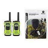 Motorola T600 Talkabout Radio, 2 Pack & 53724 Remote Speaker Microphone (Black)